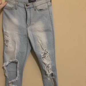 Fashionnova distressed light wash jeans